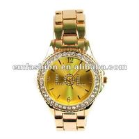 Newest Model Gold plated LOL letters Dial Rhinestone Japan Quartz Move Unisex Alloy Watch