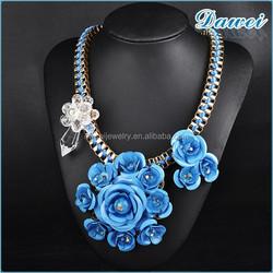 Artificial glass crystal gem flower necklace skyblue flower necklace