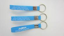 Blue color logo printing silicone wristband, siliocne key ring, silicone key