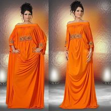 Hot Muslim Abaya Kaftan Long Prom Dresses Evening Gown Orange Boat Neck Arabic Abaya Dubai Chiffon Evening Dresses With Sleeves