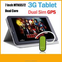 7 inch MTK6572 Tablet 7 dual core dual sim 3g/2g phone call 512MB 4GB GPS Bluetooth HD screen cheap android 4.2 mini Tablet PC