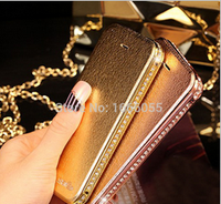 2015 New Arrival Luxury Diamond Rhinestone Metal Bumper Frame Leather Case Cover for iPhone 5 5S luxury gold back case