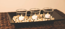 6A297 BLACK WOOD CANDLE HOLDER WITH 3 CLEAR GLASS /BLACK WOODEN CANDLE HOLDER/ MDF/ WITH STONE