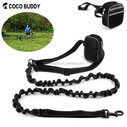 2016 New Pet Products Adjustable Hands Free Nylon Running Jogging Leash Dog Lead With Waist Bag