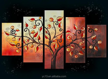 5pcs panel money tree group oil painting for home decor