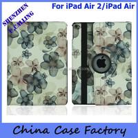 Stylish Flower Rotation Leather Case For New iPad Air 2 iPad 6