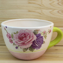 chinese bright color big ceramic cup shaped flower pot