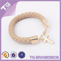 PU Leather Chain Bangle Cross alice in wonderland charm bracelet