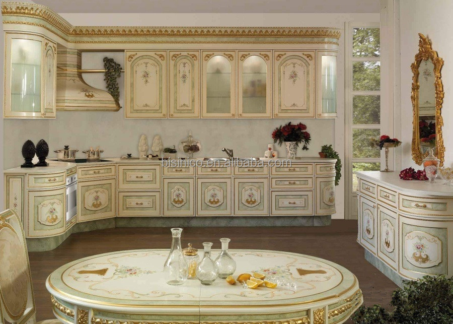 Vitoria style wooden kitchen cabinet with drawing hand for Carved kitchen cabinets