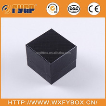 customized black square PU leather custom jewelry box for rings