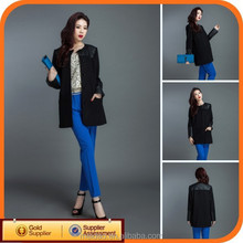 supplier price latest design ladies long leather coats