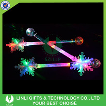 2016 New Year Party Snowflake Light Up Wand, Christmas Light Up Stick, Glowing Snowflake Stick