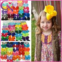 Wholesale 2015 Hot Sales Baby Hair Bow 6 inch Girls Grosgrain Ribbon Hair Bows