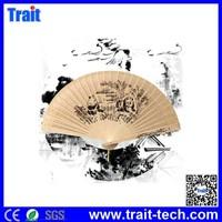 7 inch Cute Pandas Pattern Sandalwood Scented Wood Crafts Beige Folding Fan