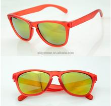 Orange Crystal transparent custom logo mirror lens frogskin sunglasses
