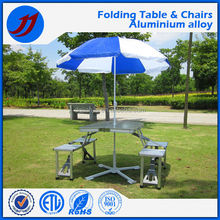 Aluminum alloy conjoined folding tables and chairs