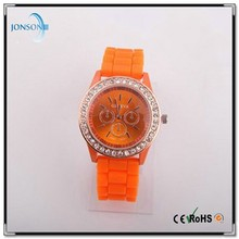 Colorful silicone band geneva watches for young people promotional watch