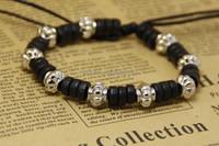 Adjustable black fashion wood beads bracelet beaded silver lantern locket jewelry