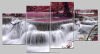 4 panels irregular canvas picture wall clock,landscape digital clock