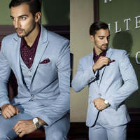 Leisure Design Blue Color With Wine dot Shirt New Design Tuxedo Men Suit