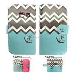 Anchor Chevron Leather Card Holder Flip Case Cover Pouch For Samsung Galaxy Ace Style S765C