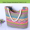 Fashionable manual ladies beautiful print cotton beach bag with rope belts