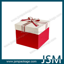Sweet rectangle gift packing box with ribbon design