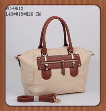 2014 high quality PU leather wooden color women fashion hand bags Guangzhou manufacturer