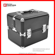 Black Aluminum Tool Boxes Metal Aluminum Shipping Case Expandable Makeup Case
