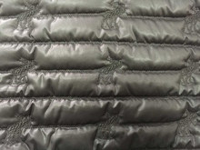 Fashion polyester stripe embroidered thermal padded fabric with quilting for down coats/jacket