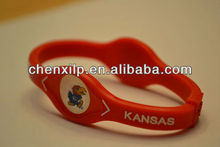 Kansas Jayhawks Rock Chalk KU College Sports Bracelet Band Wristband NIB Crimson