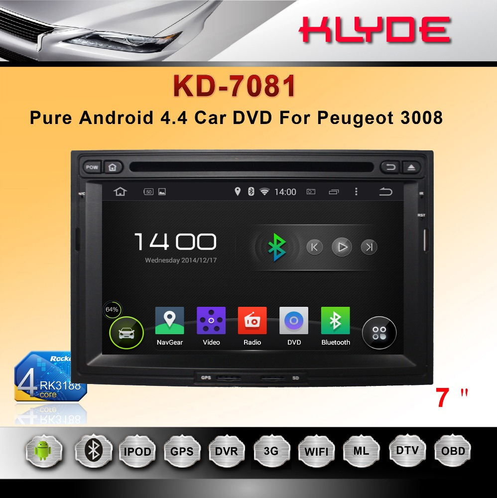 2 din android 4 4 rockchip a9 quad core car dvd with gps navigation system for peugeot 3008. Black Bedroom Furniture Sets. Home Design Ideas