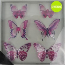 Butterfly Wall Art: 6pcs/pack Pink PET 3d Decorative Butterflies