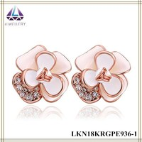 Gold Earring Design Jewelry Flower Shape Paint Pink Earrings From China
