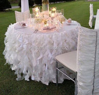 17 ft. Curly Willow Table Skirt White/table cloth organza material/chair cover/fancy party table cloth