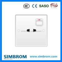 2015 hot sale socket and switch,universal electric wall socket and switch,PC 2 pin socket with 1 gang 1 way switch