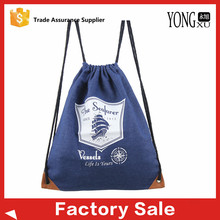 durable washing denim promotional drawstring backpack bags