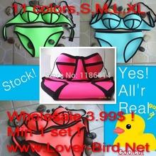 2015 Neon Color swim suit neoprene bikini tankinis women beach neoprene swimsuit women summer dresses womens triangl swimwear