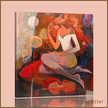 Handpainted hot sale abstract violin oil painting of sexy belle for home dicoration