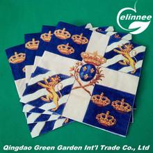Blue color fashion designs 1/4 fold 33*33cm Paper Napkins