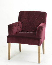 Modern Dark Red Flannel fabric Button design Upholstered Hotel chair/Dining Chair/Restaurant Chair With Arm(KY-3163)