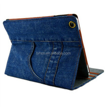 The flip leather smart cover case for ipad 2 3 4 5 air wallet Design Leather Case for ipad mini Jeans holster folding