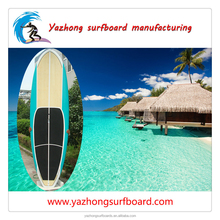 Surfing equipment blue painting and bamboo sup paddle board hot sale