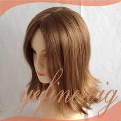 China Wholesaler Virgin Hair Short Layer Brazilian Hair Honey Blonde Human Hair Full Lace Wig