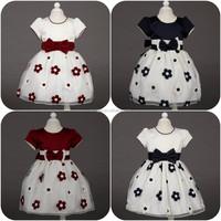Wholesale high quality children princess dress Short sleeve flowers girls dress Bow 2015 newest girls parrty dress L-52