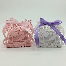 2015Most popular White,Pink Love Birds Laser Cut Wedding Paper Candy Box with Ribbons chocolate favour box baby shower birthday