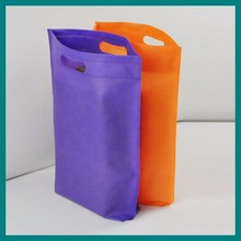 bright purple and orange non woven D cut bag for sale