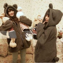 2012 women's Cute Fleeces Comfy Bear Ear Hoody Jacket coat Coffee/ black FJ-7692