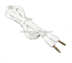 White briad 3.5mm MALE to MALE AUX Audio Cable Gold Plated Shield-PC for Car iPhone