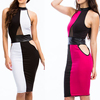 Factory direct sale sleeveless multicolor splicing mature sexy mini spandex dress